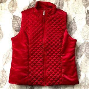 Jones New York Petite Red Puffer Vest Size M